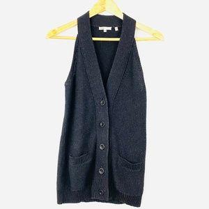 VINCE Black Sweater Halter Button Down Vest
